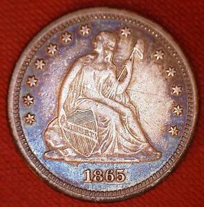 BEAUTIFUL 1865 LIBERTY SEATED QUARTER DOLLAR   RUSSET AND ELECTRIC BLUE TONING