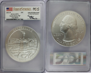 Click now to see the BUY IT NOW Price! 2011 P GETTYSBURG ATB 5OZ SILVER COIN   PCGS SP70   MERCANTI SIGNED FIRSTSTRIKE