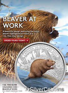 Click now to see the BUY IT NOW Price! 2015 CANADA $20 1 OZ. 99 99   FINE SILVER COLOURED COIN  BEAVER AT WORK