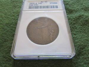 Click now to see the BUY IT NOW Price! 1915 S PANAMA PACIFIC EXPO HALF ANACS AU 50 OGH OLD WHITE 50 CENT SILVER COIN
