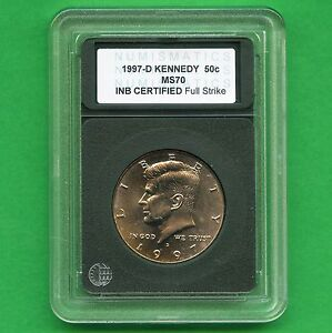 1997 'D' UNITED STATES KENNEDY HALF DOLLAR COIN INB CERTIFIED SLAB MS70
