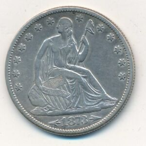 1873 SEATED LIBERTY SILVER HALF DOLLAR W/ARROWS LIGHTLY CIRCULATED SHIPS FREE