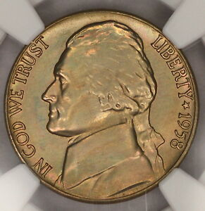 1958 D JEFFERSON NICKEL NGC MS66 5FS LIGHTL RAINBOW TONED COLORFUL TONING  7K