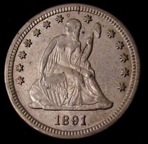 1891 S SEATED LIBERTY QUARTER    XF  DETAILS 17056