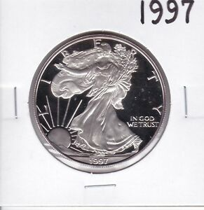 1997 P AMERICAN SILVER EAGLE GEM DCAM PROOF