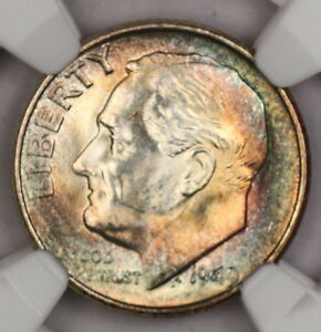 1949 S ROOSEVELT DIME NGC MS66 SUPER RAINBOW TONED COLORFUL TONING  11T