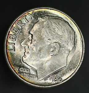 1956 P ROOSEVELT DIME STUNNING EXAMPLE WITH RIM TONED COLORFUL TONING  GC640