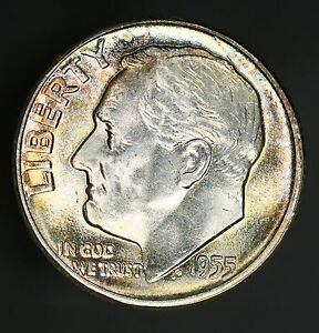 1955 P ROOSEVELT DIME PREMIUM HIGH GRADE BEAUTY WITH COLORFUL TONING  GC637