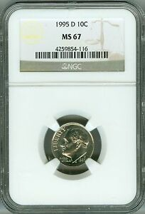 Click now to see the BUY IT NOW Price! 1995 D NGC MS67 ROOSEVELT DIME TOP REGISTRY NONE FINER  LO POP EYE APPEAL