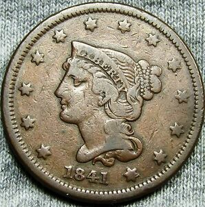 1841 BRAIDED HAIR LARGE CENT PENNY     TYPE COIN     D899