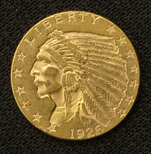 $2 1/2 DOLLAR GOLD INDIAN HEAD COIN   1926   EXCELLENT
