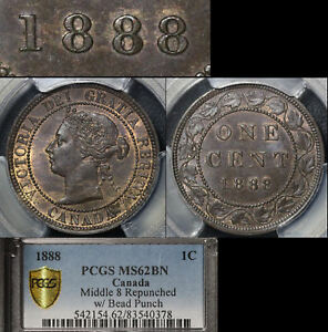Click now to see the BUY IT NOW Price! ELITE COINS   LARGE CENT VARIETY   1888 MIDDLE 8 BEAD PUNCH   MS62 PCGS  L045