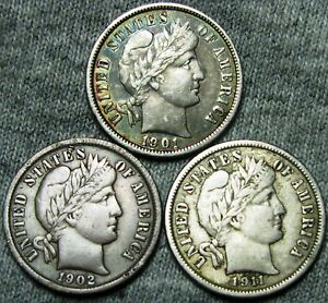 1901  1902  1911 BARBER DIMES US COINS     NICE LOT     W133