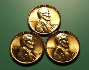 3 X 1957 D LINCOLN WHEAT PENNY FILLED B ERROR 3 COIN SET W6610
