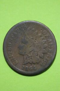 LOW GRADE 1864 L BRONZE INDIAN HEAD CENT EXACT COIN SHOWN FLAT RATE SHIP OCE 459