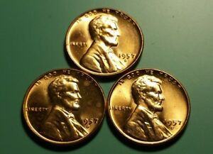 3 X 1957 D LINCOLN WHEAT PENNY FILLED B ERROR 3 COIN SET W6617