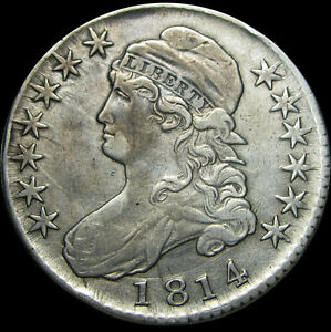 1814 CAPPED BUST HALF DOLLAR SILVER US TYPE COIN O 103      STUNNING      R773