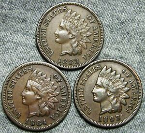 1883  1884  1893 INDIAN HEAD CENTS     NICE LOT     T406