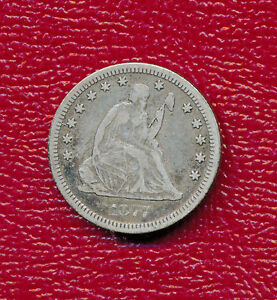 1877 CC SEATED LIBERTY SILVER QUARTER   NICE CIRCULATED   SHOWS A FULL LIBERTY