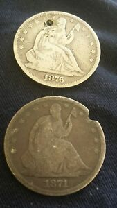 1871 S AND 1876 SEATED LIBERTY HALF DOLLAR