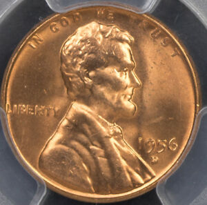 1956 D LINCOLN CENT PCGS MS66RD RED GEM BU PQ WHEAT PENNY