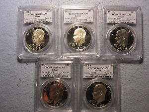 LOT OF 1971 1972 1973 1974 1976 ALL  S  PCGS PR69DCAM ENTIRE IKE SET SILVER $1