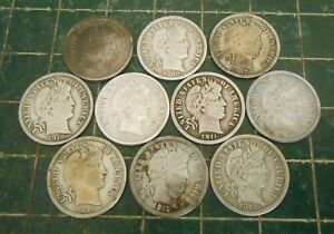 BARBER DIMES . LOT OF 10 DIFFERENT FULL LIBERTY COINS . SILVER 1898 1902 ETC