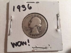 1930'S   DEPRESSION   LOW MINTAGE   1936 WASHINGTON QUARTER   90  SILVER NR