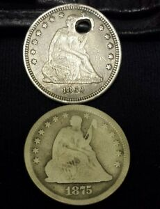 1860 AND 1875 SEATED LIBERTY QUARTER