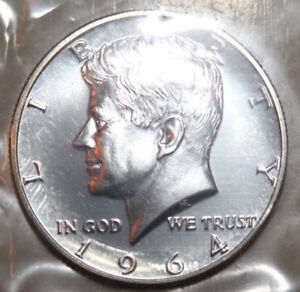 1964 50C KENNEDY HALF DOLLAR 90  SILVER BU CONDITION CELLOPHANE PACKED