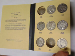 SET OF 9 PEACE SILVER DOLLARS IN LIBRARY OF COINS ALBUM 1922 1923 24 S 25 26 S
