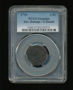 1793 LIBERTY CAP HALF CENT 1/2C PCGS GENUINE ENV. DAMAGE TYPE 1 FACING LEFT