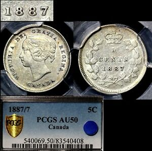 Click now to see the BUY IT NOW Price! ELITE COINS   5 CENTS   1887 STRONG REPUNCHED 7   AU50 PCGS REGISTRY  A081