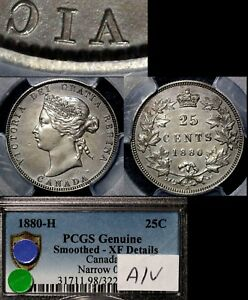 Click now to see the BUY IT NOW Price! ELITE COINS   25 CENTS   1880H NARROW 0 A/V VICTORIA   EF PCGS  A135