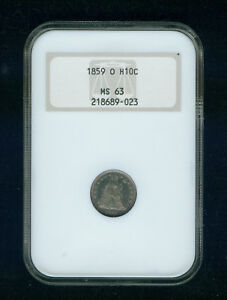 Click now to see the BUY IT NOW Price! 1859 O SEATED LIBERTY HALF DIME H10C NGC MS 63 TYPE 3 STARS ON OBVERSE