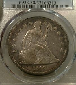 1846 O SEATED LIBERTY DOLLAR PCGS VF30 $1 GOOD DATE NEW ORLEANS
