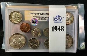 Click now to see the BUY IT NOW Price! 1948 DOUBLE MINT SET ANACS/OSV VERIFIED   NICKEL MS67 5 STEP