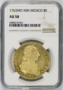 Click now to see the BUY IT NOW Price! 1763 MO MM MEXICO 8 ESCUDOS 8E NGC AU58 TOP POP 4/0