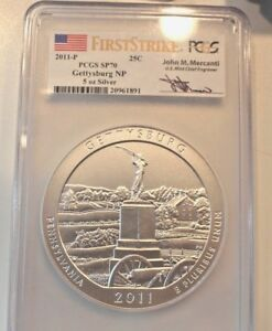 Click now to see the BUY IT NOW Price! 2011 P FIRST STRIKE 5 OZ GETTYSBURG PCGS SP70     SIGNED