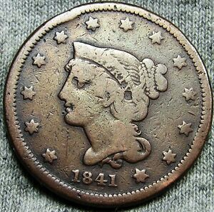 1841 BRAIDED HAIR LARGE CENT PENNY     TYPE COIN     D900
