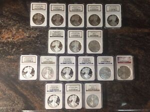 17 COIN WEST POINTSILVER EAGLE COLLECTION 2001 2008 WITH SETS   ALL PERFECT 70S