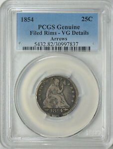 Click now to see the BUY IT NOW Price! 1854 SEATED LIBERTY 25C PCGS GENUINE FILED RIMS VG DETAILS ARROWS