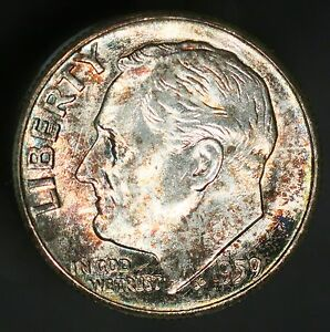 1959 P ROOSEVELT DIME 10C TONED A BEAUTIFUL EXAMPLE UNC  GC394