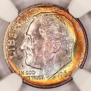1960 D ROOSEVELT DIME NGC MS67 SUPER RAINBOW TONED COLORFUL TONING  2O
