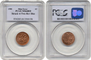 Click now to see the BUY IT NOW Price! 1980 CANADA CENT STRUCK WITH TWO REVERSE DIES PCGS MS 64 RED 1 OF 2 KNOWN