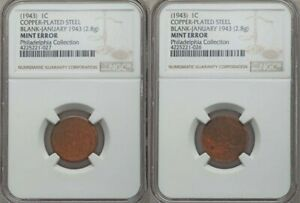 UNIQUE 1943 LINCOLN CENT EXPERIMENTAL COPPER BLANKS AND ZINC TEST BLANK NGC