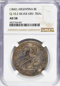 Click now to see the BUY IT NOW Price! 1842 ARGENTINA 8 ESCUDOS OBVERSE DIE TRIAL IN SILVER NGC AU 58 UNIQUE