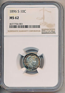 1896 S BARBER SILVER DIME   NGC CERTIFIED MS 62