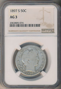 1897 S BARBER SILVER HALF DOLLAR   NGC CERTIFIED AG 3   KEY DATE