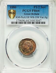 UNIQUE 1880 ENGLISH HALF SOVEREIGN SILVER PATTERN MULED W/ 6P OBV PCGS PROOF 64
